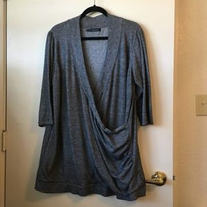 Maurices Greys Crossover Draped Sweater Top